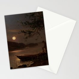 Shore of the Lake at Full Moon landscape painting by Magnus Munsterhjelm Stationery Cards