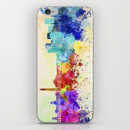 Buenos Aires skyline in watercolor background iPhone Skin