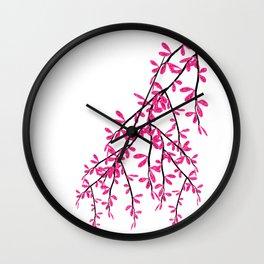 Pink Tree Branch Wall Clock