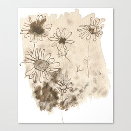 Flowers - Abstract sepia art Canvas Print