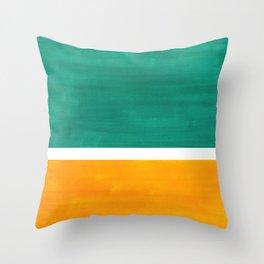 Colorful Bright Minimalist Rothko Minimalist Midcentury Art Marine Green Gold Vintage Pop Art Throw Pillow