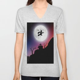 Purple Halloween Witch Silhouette Unisex V-Neck
