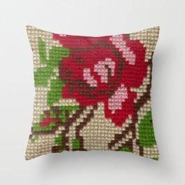 rose needlepoint Throw Pillow