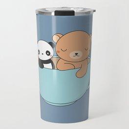 Kawaii Cute Brown Bear and Panda Travel Mug