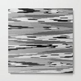 Modern abstract black white ikat pattern Metal Print