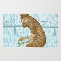 bigfoot Area & Throw Rugs featuring Dirty Wet Bigfoot Hipster by Santiago Uceda