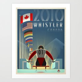 "Minimalist Whistler ""Olympic Luge"" Travel Poster Art Print"