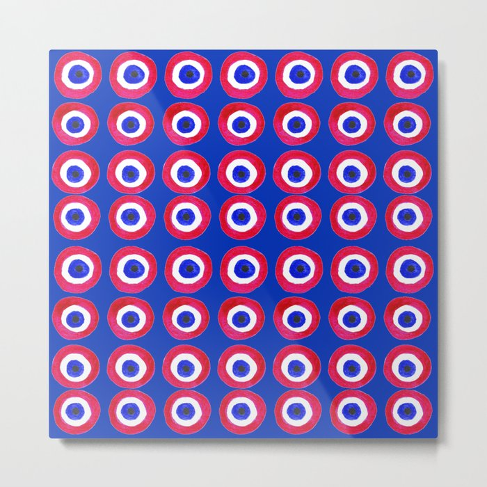 Donut Evil Eye Amulet Talisman - red on blue doughnut Metal Print