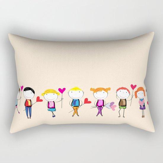 Children with hearts Rectangular Pillow
