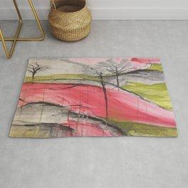 Pink Landscape. Color of Japan. Original Painting by Jodi Tomer. Abstract Artwork. Rug