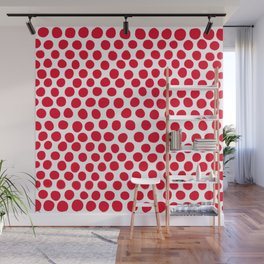 Juicy Red Apple Polka Dots with White Wall Mural