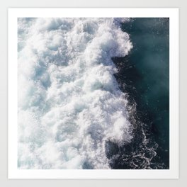 sea - midnight blue wave Art Print