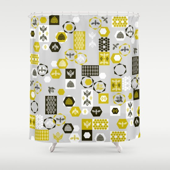 Bees Block Shower Curtain