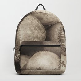 Bucket of Old Baseballs in Sepia Backpack