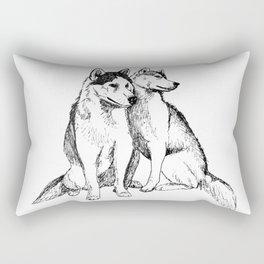 Siberian Husky Pair Rectangular Pillow