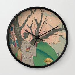 Sakura tree with people Wall Clock