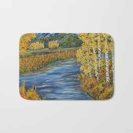 Autumn in the Mountains, Fall Decor, Aspen Birch Tree Painting Bath Mat