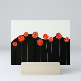 red flowers on black and white Mini Art Print