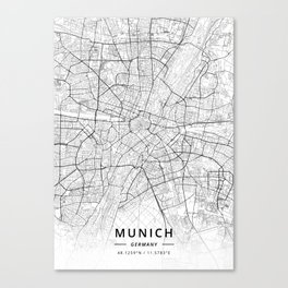 Munich, Germany - Light Map Canvas Print
