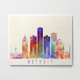 Detroit landmarks watercolor poster Metal Print