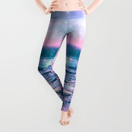 Mystic Waters Vibrant Pink Blue Lavender Leggings