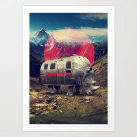 rhino Art Prints featuring Rhino by Ali GULEC