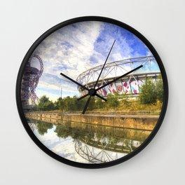 West Ham Olympic Stadium And The Arcelormittal Orbit Art Wall Clock