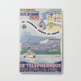 Telepherique Mt Veyrier Vintage Travel Poster Metal Print