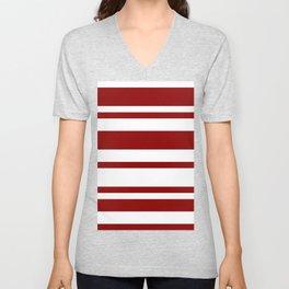 Mixed Horizontal Stripes - White and Dark Red Unisex V-Neck