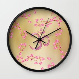 OM symbol  with gentle pastel pink flower tree branches Wall Clock