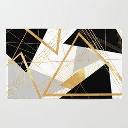Black and Gold Geometric Rug