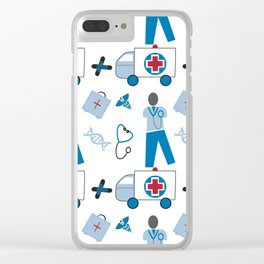 Wellness Health Medical Symbols Doctors and  Nurse Clear iPhone Case