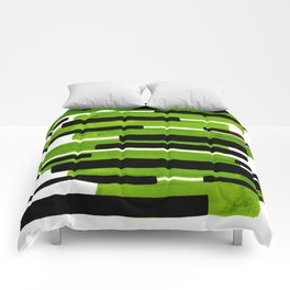 Lime Green Primitive Stripes Mid Century Modern Minimalist Watercolor Gouache Painting Colorful Stri Comforters