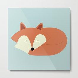 Sleepy Red Fox Metal Print