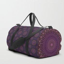 Detailed mandala in pink and purple tones Duffle Bag