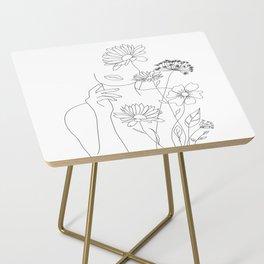 Minimal Line Art Woman with Flowers III Side Table