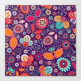 Colorful khokhloma flowers pattern Canvas Print
