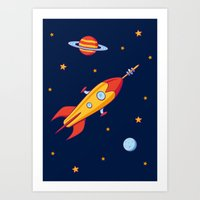 spaceship Art Prints featuring Spaceship! by Doodle Dojo