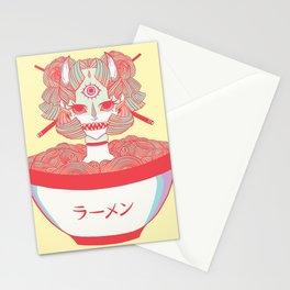 Monster Girl Oni Demon In Bowl Of Ramen Noodles Food Artwork Stationery Cards