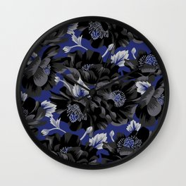 Mount Cook Lily - Blue/Black Wall Clock