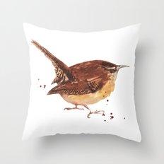 wren, tiny bird, cute birdie, bird painting, songbird, bird lover art Throw Pillow