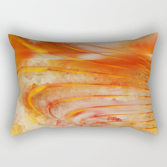 Abstract cubism orange and red Version 2 Rectangular Pillow