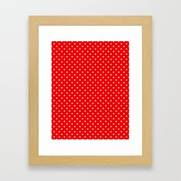 Red with white polka dots Framed Art Print