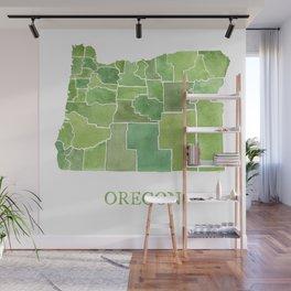 Oregon Counties watercolor map Wall Mural