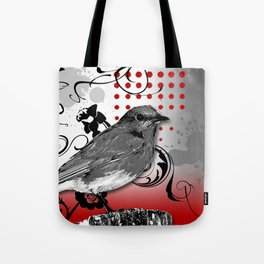 Trash Polka Bird & Flower Abstract Tote Bag