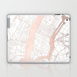 New York City White on Rosegold Street Map Laptop & iPad Skin