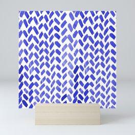 Cute watercolor knitting pattern - blue Mini Art Print