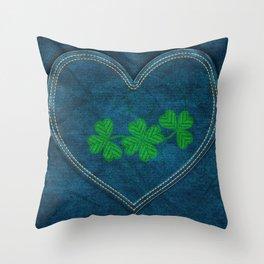 Shamrock Digital Embroidery Throw Pillow