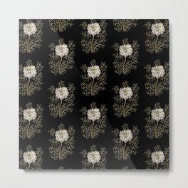 Mysterious Medieval Flower Pattern Metal Print