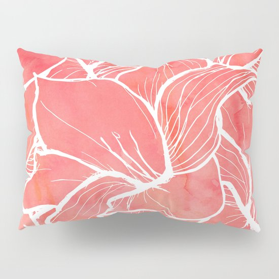 Modern white handdrawn flowers coral watercolor pattern Pillow Sham by Girly Trend Society6